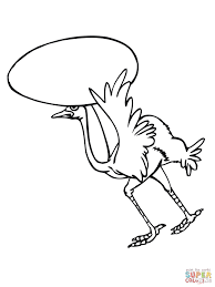 ostrich on nest with eggs coloring page free printable coloring
