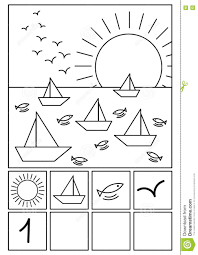coloring page beach math game stock illustration image 78256912