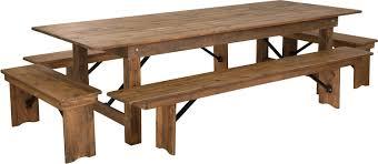 Folding Table And Bench Set Hercules Series 9 U0027 X 40 U0027 U0027 Antique Rustic Folding Farm Table And