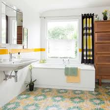 Red White And Blue Bathroom Decor - retro bathroom with green and yellow accents bathroom decorating