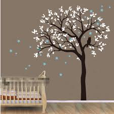 Nursery Wall Mural Decals Diy Large Size Owl Hoot Tree Nursery Wall Stickers Removable