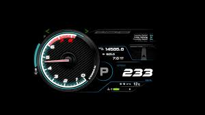 car dashboard 4 k animation of car dashboard speed rpm meter and automobile icon