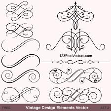 vintage calligraphic vector ornaments free vector