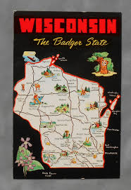 Map Of Wisconsin Dells by 1960s State Map Of Wisconsin Landmarks Icons Wi Postcard Ebay