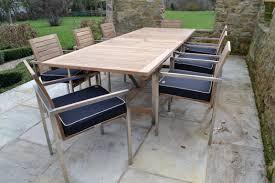 Used Teak Outdoor Furniture Extending Teak And Stainless Steel Garden Furniture Set Riviera