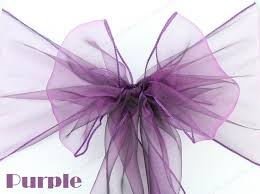 Cheap Chair Sashes Purple Organza Chair Sashes Ribbons Bow Wedding Chair Cover Tie