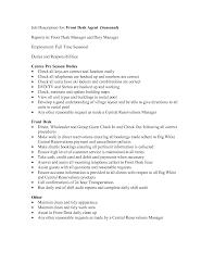 job description for front desk agent seasonal reports to front