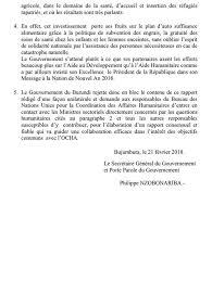 bureau de coordination des affaires humanitaires ikiriho on le burundigov rejette en bloc le contenu du