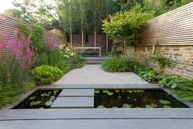 garden feature wall landscape asian with terraced outdoor hanging