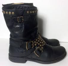 short motorbike boots frye 76795 jenna studded short black leather motorcycle boots