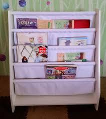 Display Bookcase For Children Fashion White 5 Level Tier Wooden Kids Canvas Book Shelf Display