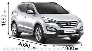 weight of hyundai santa fe dimensions of hyundai cars showing length width and height