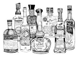 vintage cocktail party illustration custom bottle bar drawing wait list home bar art bar