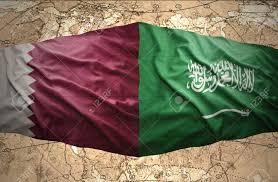 Flag Of Qatar Waving Saudi Arabia And Qatar Flags On The Background Of The