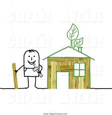 avenue clipart of a stick man building an green eco friendly house