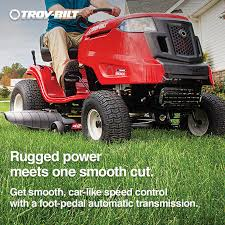 shop troy bilt bronco 19 hp automatic 42 in riding lawn mower at