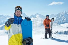 two with winter sport equipment looking at one is