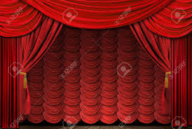 Velvet Curtains Old Fashioned Elegant Theater Stage With Velvet Curtains Stock