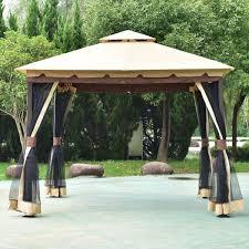 gazebos for patios 2 tier 10 u0027 x 10 u0027 patio shelter awning steel gazebo canopy