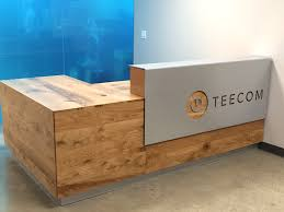 Shabby Chic Reception Desk Rustic Oak Reception Desk With Aluminum Signage Bay Area Custom