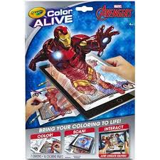 crayola color alive avengers coloring book crayons walmart
