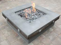 Concrete Firepit Outdoor Rectangular Concrete Firepit With Ground Cover And