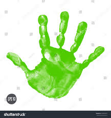 watercolor acrylic green kids handprint isolated stock vector