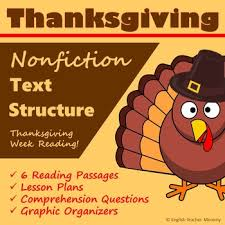 thanksgiving nonfiction text structure articles by
