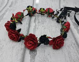 Dark Red Flower - red rose crown etsy