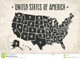 States Of United States Map by Poster Map United States Of America With State Names Stock Vector
