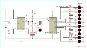 led chaser circuit diagram using ic 555 and cd 4017