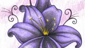 Purple Lillies Purple Tiger Lilies Tattoo Design On Paper U2013 Truetattoos