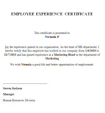 Work Certification Letter Sle To Whom It May Concern Experience Certificate