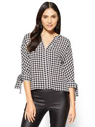 houndstooth blouse ny c 7th avenue tie sleeve split neck blouse houndstooth