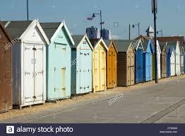 felixstowe colourful seaside beach huts suffolk uk stock photo