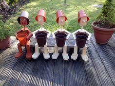 flowerpot men garden ornaments stander solar lamp