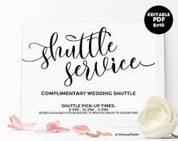 wedding signs template wedding shuttle sign etsy