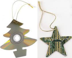 cd and circuit board ornaments slipperybrick