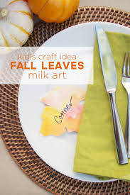 project thanksgiving kid u0027s craft fall leaves milk art u0026 thanksgiving place cards