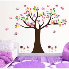 stickers chambre bébé arbre arbre coloré et hiboux stickers muraux amovibles décoration