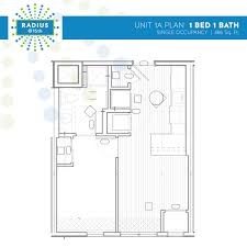 radius housing and residential life radius 1 person 1 bedroom floor plan
