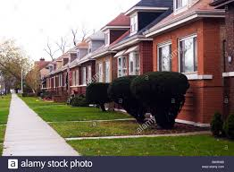 a row of bungalow type homes typical of the south side of chicago