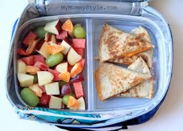 cheese quesadilla gogurt and fruit salad diced watermelon apple
