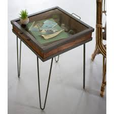 Recycled Wood by Recycled Wood And Metal Showcase Table Accent Tables Glass
