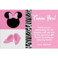 minnie mouse thank you cards pink bow photo invitation similar to minnie mouse personalized