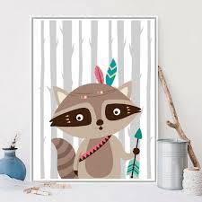 tableau deco chambre enfant décoration poster toile raton laveur aventurier indien