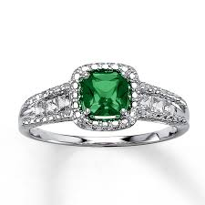 emerald silver rings images Kay lab created emerald ring cushion cut sterling silver jpg