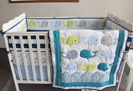 Baby Nursery Bedding Sets For Boys Blue Baby Bedding Set Embroidery 3d Whale Baby Crib Bedding
