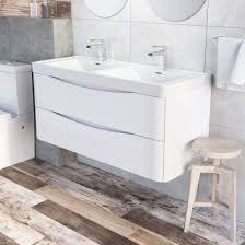 double sink wall hung vanity unit motiv 1200mm wall mounted gloss white double basin vanity unit