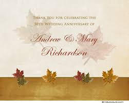 autumn anniversary thank you card leafy 50 years